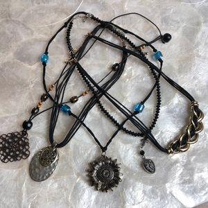 Five Vintage Boho Necklaces